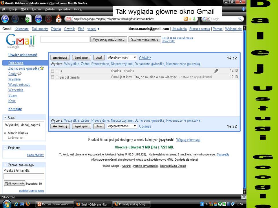 Tak wygląda główne okno Gmail
