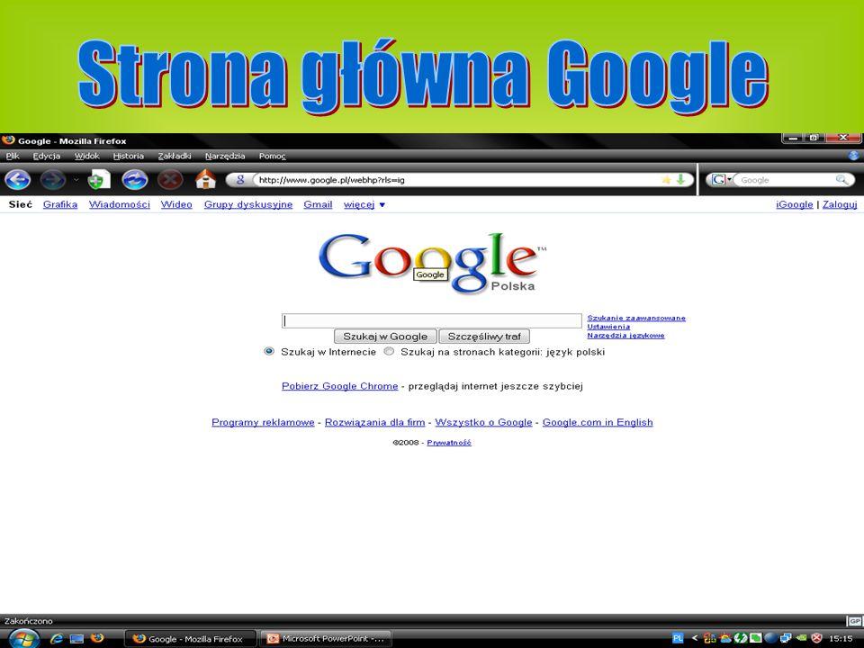Google - wyszukiwarka internetowa, stworzona przez amerykańską firmę Google Inc..