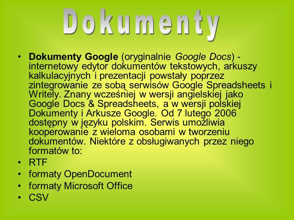 Dokumenty Google (oryginalnie Google Docs) - internetowy edytor dokumentów tekstowych, arkuszy kalkulacyjnych i prezentacji powstały poprzez zintegrowanie ze sobą serwisów Google Spreadsheets i Writely.