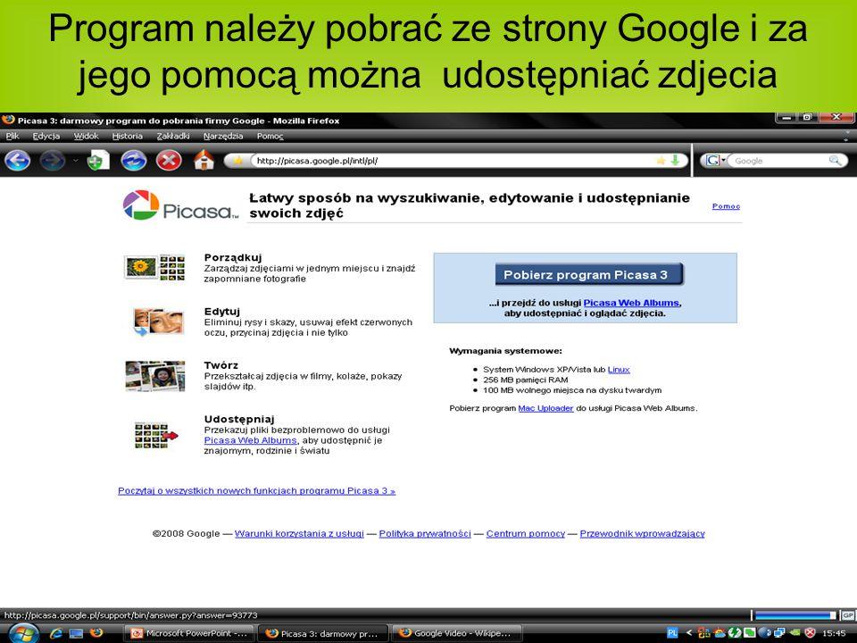 Program należy pobrać ze strony Google i za jego pomocą można udostępniać zdjecia