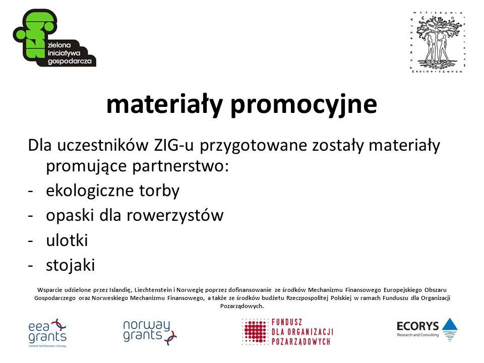 materiały promocyjne Dla uczestników ZIG-u przygotowane zostały materiały promujące partnerstwo: -ekologiczne torby -opaski dla rowerzystów -ulotki -s