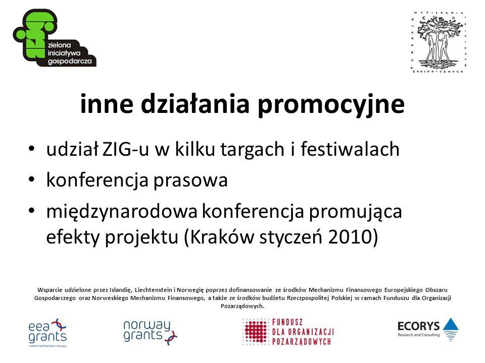 inne działania promocyjne udział ZIG-u w kilku targach i festiwalach konferencja prasowa międzynarodowa konferencja promująca efekty projektu (Kraków