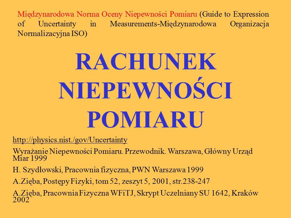 RACHUNEK NIEPEWNOŚCI POMIARU http://physics.nist./gov/Uncertainty Wyrażanie Niepewności Pomiaru. Przewodnik. Warszawa, Główny Urząd Miar 1999 H. Szydł
