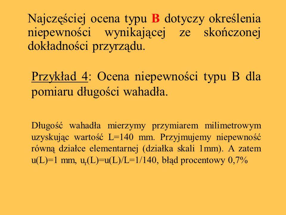 Przykład 4: Ocena niepewności typu B dla pomiaru długości wahadła. Długość wahadła mierzymy przymiarem milimetrowym uzyskując wartość L=140 mm. Przyjm