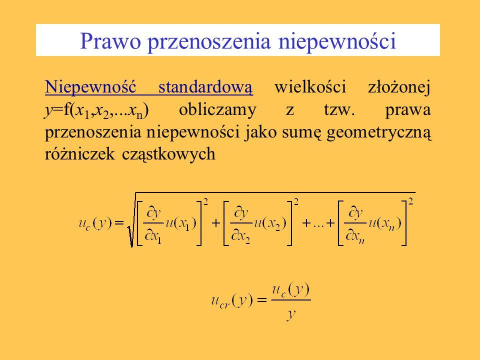 Prawo przenoszenia niepewności Niepewność standardową wielkości złożonej y=f(x 1,x 2,...x n ) obliczamy z tzw. prawa przenoszenia niepewności jako sum