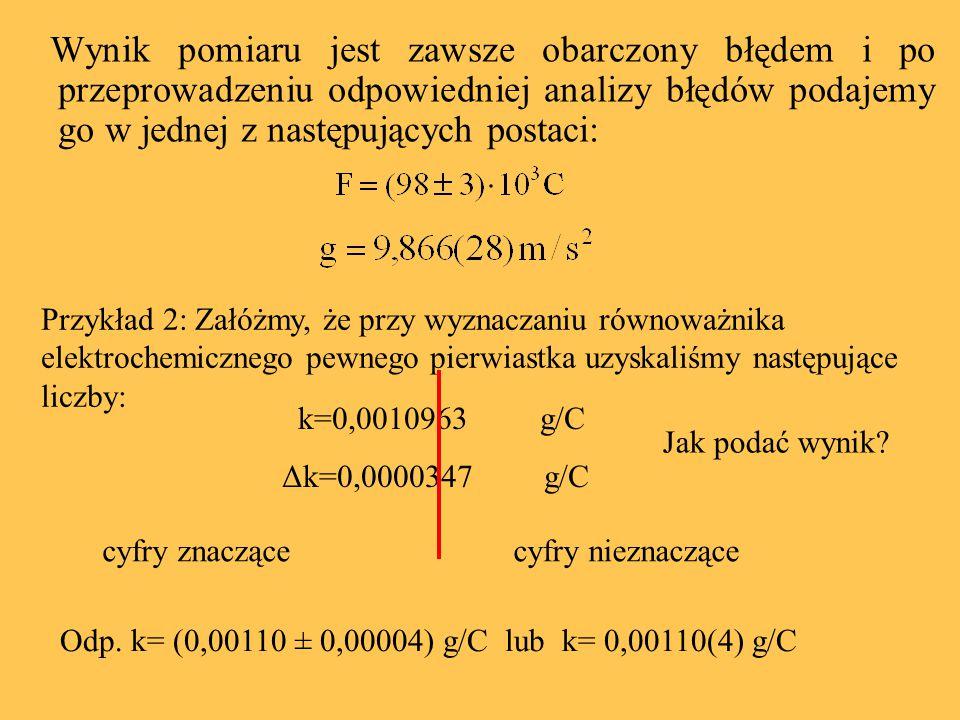 Wynik pomiaru jest zawsze obarczony błędem i po przeprowadzeniu odpowiedniej analizy błędów podajemy go w jednej z następujących postaci: Przykład 2: