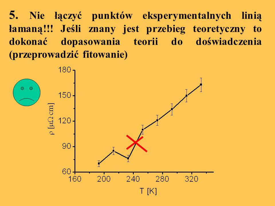 5. Nie łączyć punktów eksperymentalnych linią łamaną!!! Jeśli znany jest przebieg teoretyczny to dokonać dopasowania teorii do doświadczenia (przeprow