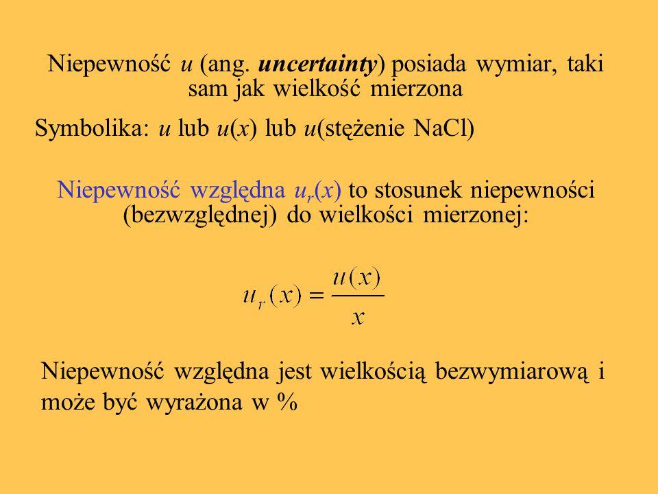 Niepewność u (ang. uncertainty) posiada wymiar, taki sam jak wielkość mierzona Symbolika: u lub u(x) lub u(stężenie NaCl) Niepewność względna u r (x)