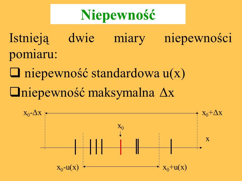 Typy oceny niepewności wg nowej Normy Typ A Metody wykorzystujące statystyczną analizę serii pomiarów: wymaga odpowiednio dużej liczby powtórzeń pomiaru ma zastosowanie do błędów przypadkowych Typ B Opiera się na naukowym osądzie eksperymentatora wykorzystującym wszystkie informacje o pomiarze i źródłach jego niepewności stosuje się gdy statystyczna analiza nie jest możliwa dla błędu systematycznego lub dla jednego wyniku pomiaru