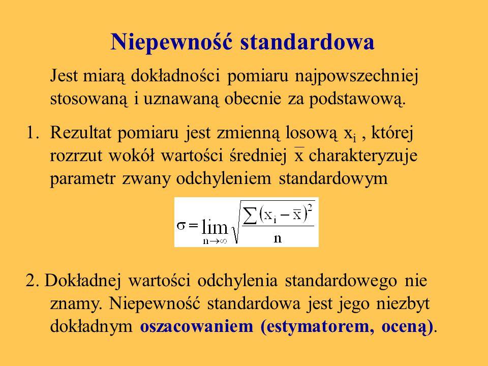 Niepewność maksymalna Jest miarą deterministyczmą, gdyż zakłada, że można określić przedział wielkości mierzonej x, w którym na pewno znajdzie się wielkość rzeczywista.