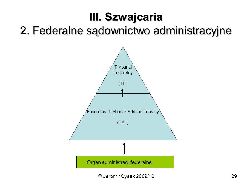 © Jaromir Cysek 2009/1029 III.Szwajcaria. Federalne sądownictwo administracyjne III.