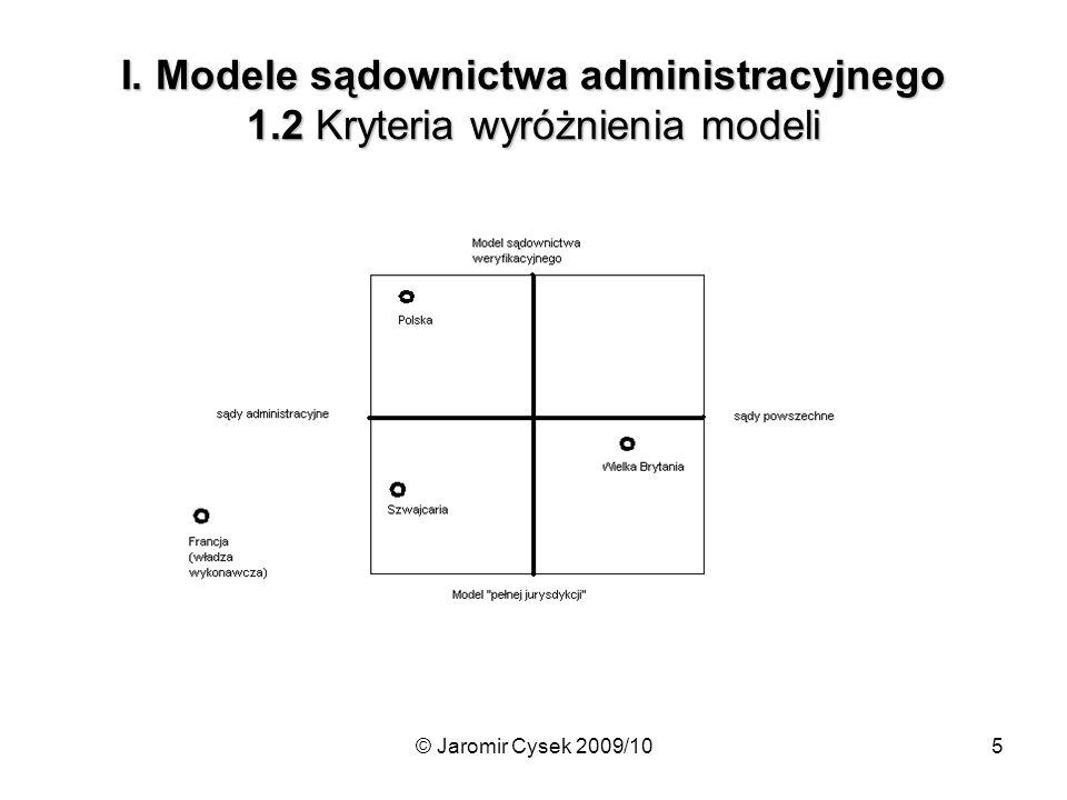 © Jaromir Cysek 2009/105 I. Modele sądownictwa administracyjnego 1.2 Kryteria wyróżnienia modeli