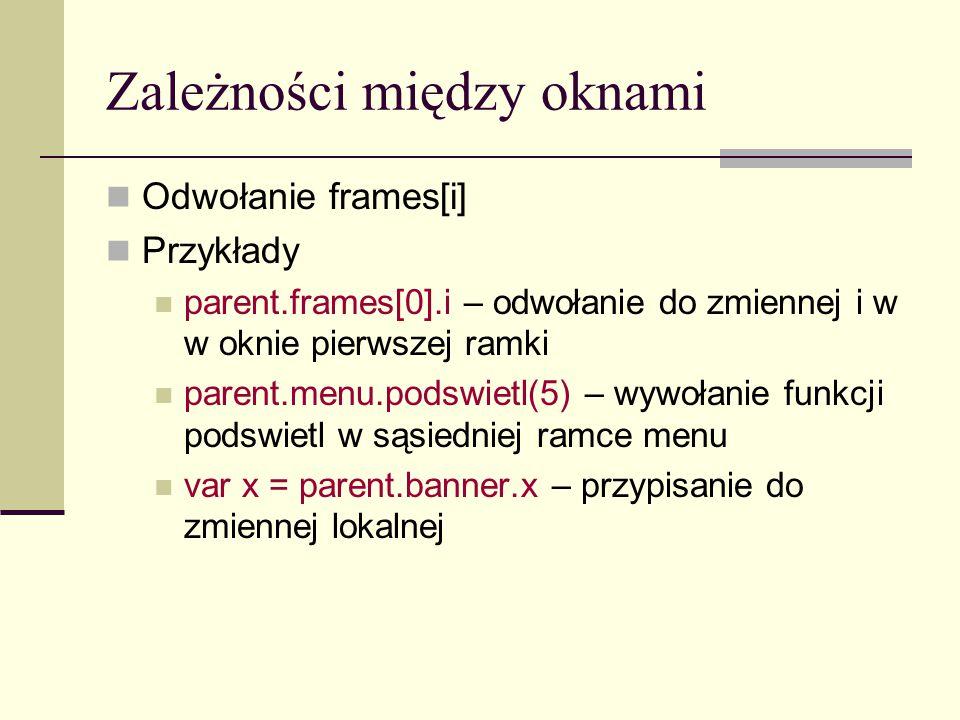 Zależności między oknami Przykładowy ramki.html