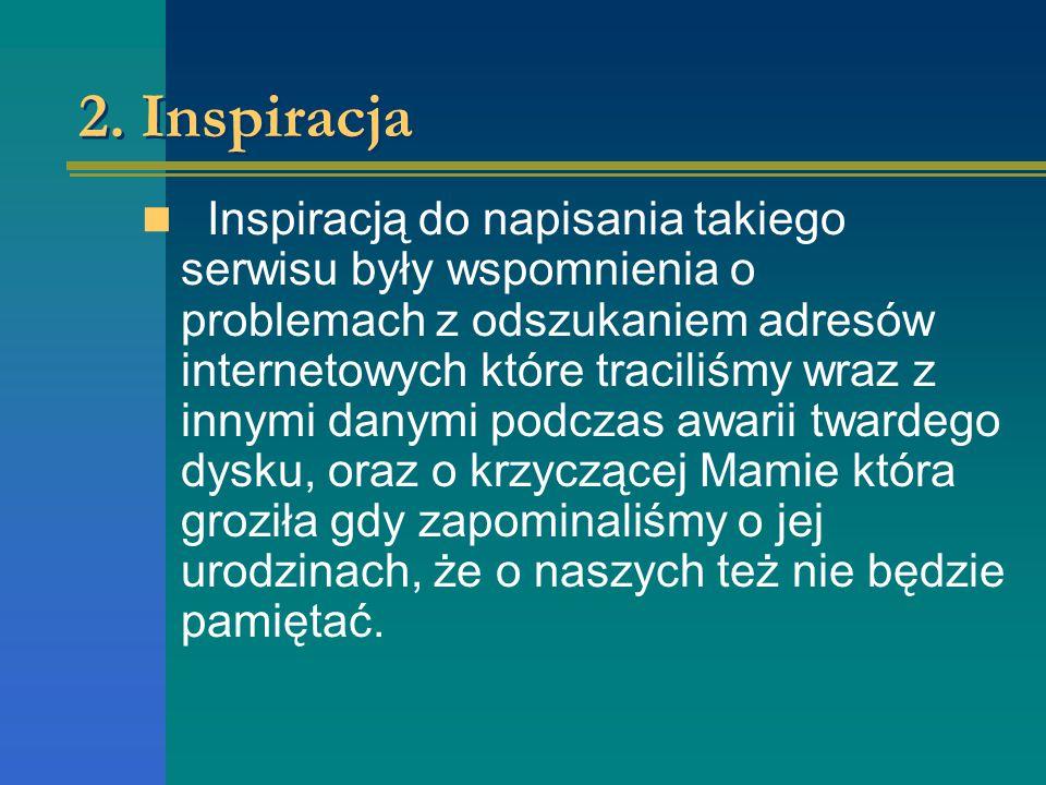 2. Inspiracja Inspiracją do napisania takiego serwisu były wspomnienia o problemach z odszukaniem adresów internetowych które traciliśmy wraz z innymi