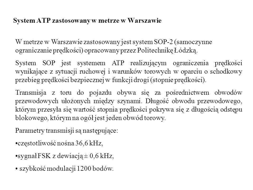 System ATP zastosowany w metrze w Warszawie W metrze w Warszawie zastosowany jest system SOP-2 (samoczynne ograniczanie prędkości) opracowany przez Po