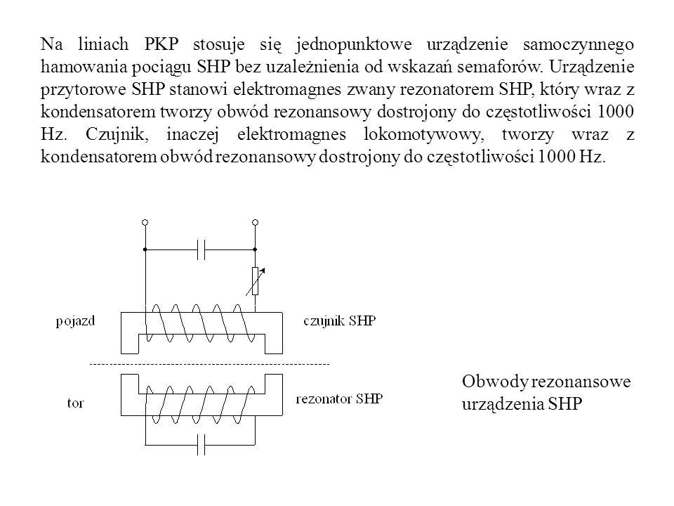 Na liniach PKP stosuje się jednopunktowe urządzenie samoczynnego hamowania pociągu SHP bez uzależnienia od wskazań semaforów. Urządzenie przytorowe SH