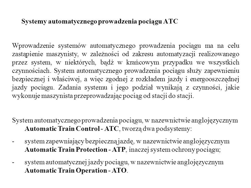 Systemy automatycznego prowadzenia pociągu ATC System automatycznego prowadzenia pociągu, w nazewnictwie anglojęzycznym Automatic Train Control - ATC,