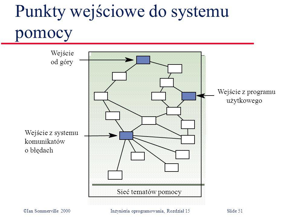 ©Ian Sommerville 2000 Inżynieria oprogramowania, Rozdział 15Slide 51 Punkty wejściowe do systemu pomocy Sieć tematów pomocy Wejście z programu użytkowego Wejście od góry Wejście z systemu komunikatów o błędach