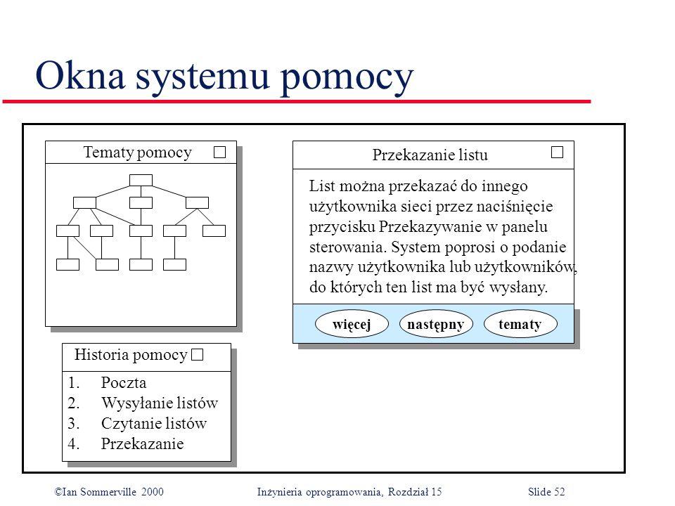 ©Ian Sommerville 2000 Inżynieria oprogramowania, Rozdział 15Slide 52 Okna systemu pomocy Tematy pomocy Przekazanie listu List można przekazać do innego użytkownika sieci przez naciśnięcie przycisku Przekazywanie w panelu sterowania.