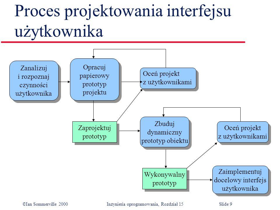©Ian Sommerville 2000 Inżynieria oprogramowania, Rozdział 15Slide 10 Zasady projektowania interfejsu użytkownika l Projektanci interfejsu użytkownika muszą brać pod uwagę psychiczne i umysłowe zdolności osób używających oprogramowania.