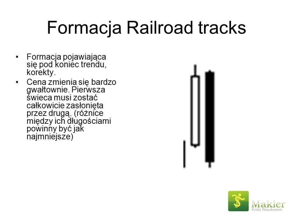 Formacja Railroad tracks Formacja pojawiająca się pod koniec trendu, korekty. Cena zmienia się bardzo gwałtownie. Pierwsza świeca musi zostać całkowic