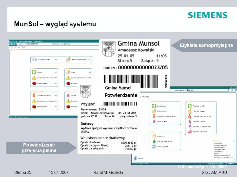 Strona 23 13.04.2007 © Siemens Sp. z o.o. 2007 SIS / AM PUBRafal M.