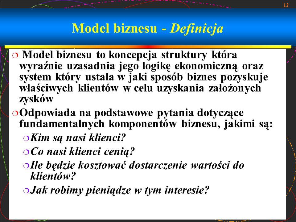 12 Model biznesu - Definicja  Model biznesu to koncepcja struktury która wyraźnie uzasadnia jego logikę ekonomiczną oraz system który ustala w jaki s