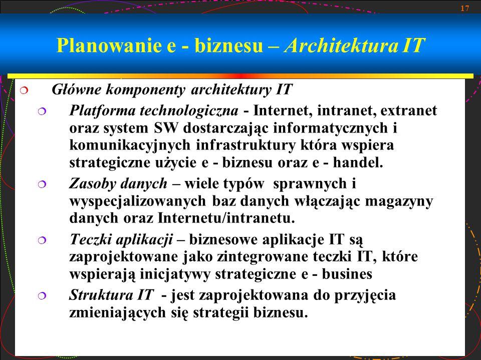 17 Planowanie e - biznesu – Architektura IT  Główne komponenty architektury IT  Platforma technologiczna - Internet, intranet, extranet oraz system