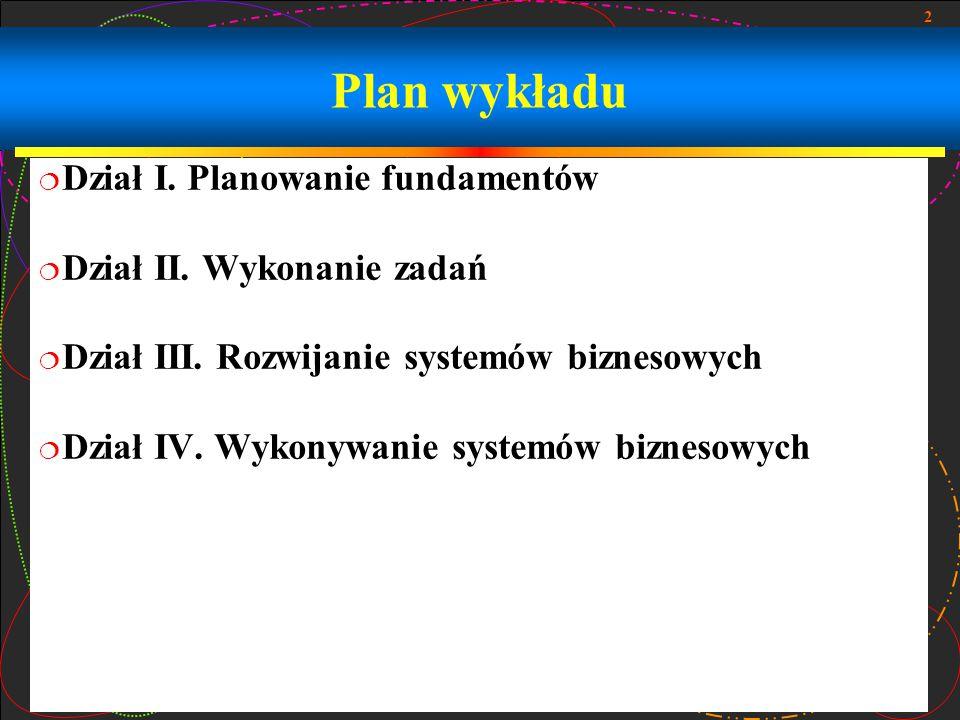 2 Plan wykładu  Dział I. Planowanie fundamentów  Dział II. Wykonanie zadań  Dział III. Rozwijanie systemów biznesowych  Dział IV. Wykonywanie syst