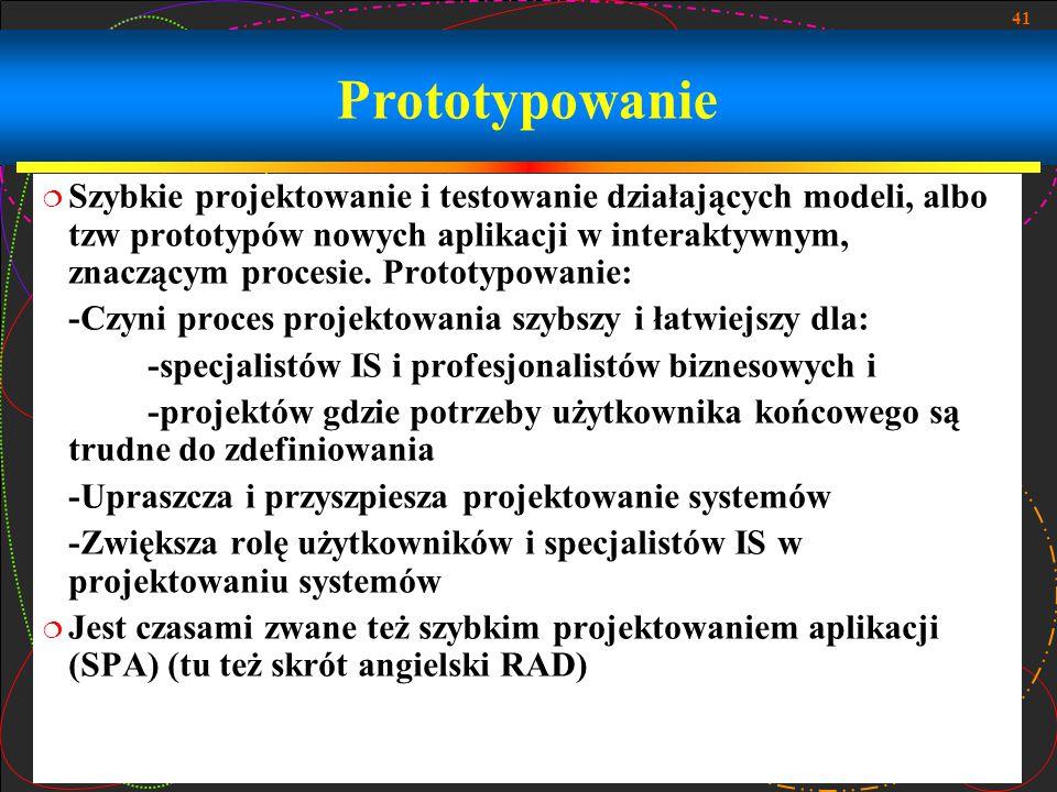 41 Prototypowanie  Szybkie projektowanie i testowanie działających modeli, albo tzw prototypów nowych aplikacji w interaktywnym, znaczącym procesie.