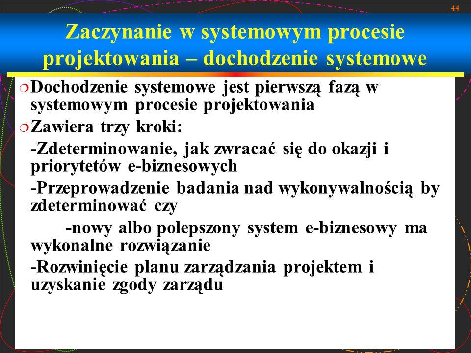 44 Zaczynanie w systemowym procesie projektowania – dochodzenie systemowe  Dochodzenie systemowe jest pierwszą fazą w systemowym procesie projektowan