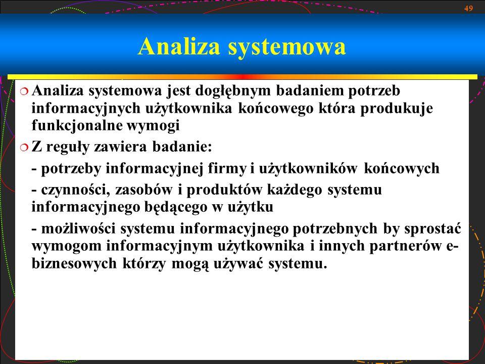 49 Analiza systemowa  Analiza systemowa jest dogłębnym badaniem potrzeb informacyjnych użytkownika końcowego która produkuje funkcjonalne wymogi  Z