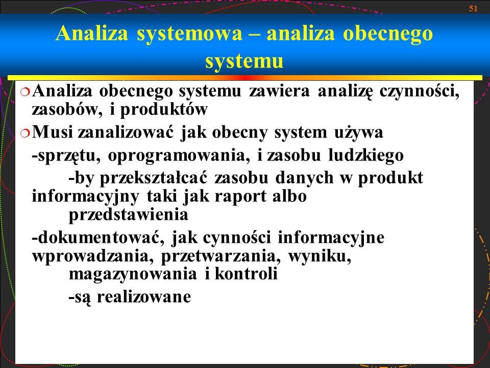 51 Analiza systemowa – analiza obecnego systemu  Analiza obecnego systemu zawiera analizę czynności, zasobów, i produktów  Musi zanalizować jak obec