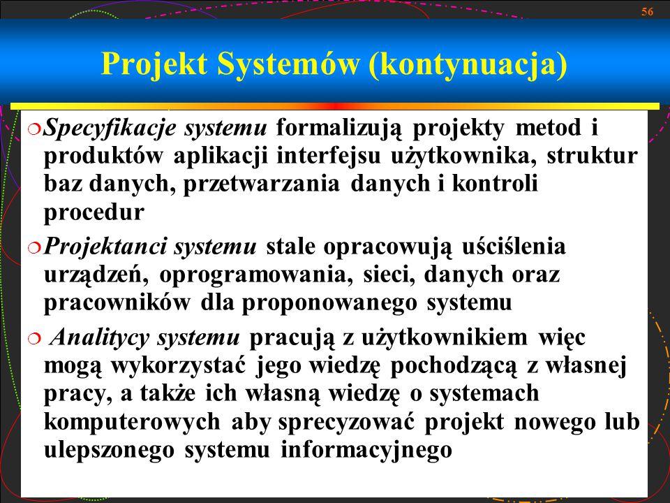 56 Projekt Systemów (kontynuacja)  Specyfikacje systemu formalizują projekty metod i produktów aplikacji interfejsu użytkownika, struktur baz danych,