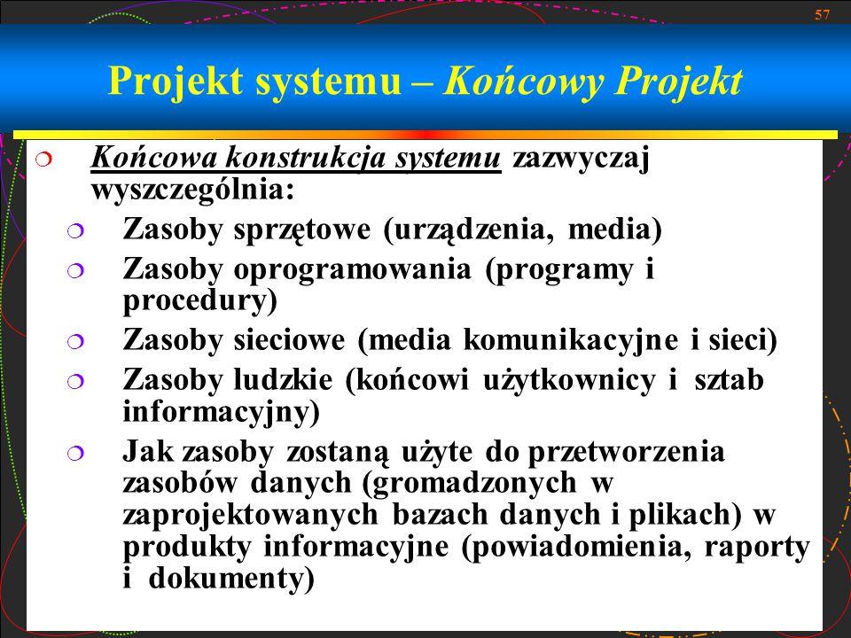 57 Projekt systemu – Końcowy Projekt  Końcowa konstrukcja systemu zazwyczaj wyszczególnia:  Zasoby sprzętowe (urządzenia, media)  Zasoby oprogramow