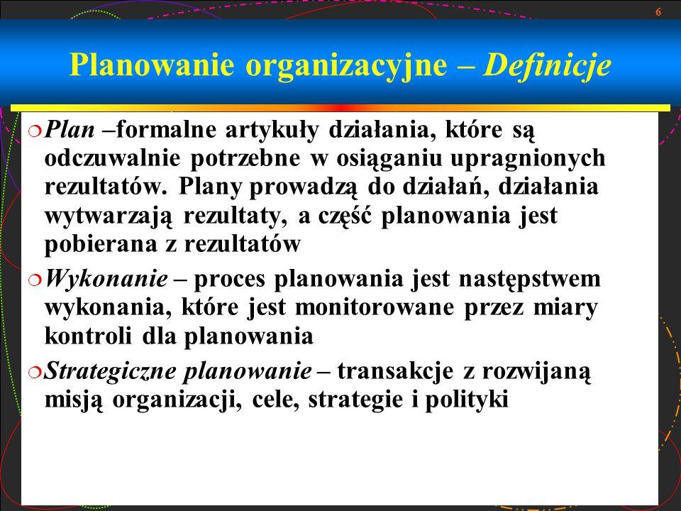6 Planowanie organizacyjne – Definicje  Plan –formalne artykuły działania, które są odczuwalnie potrzebne w osiąganiu upragnionych rezultatów. Plany