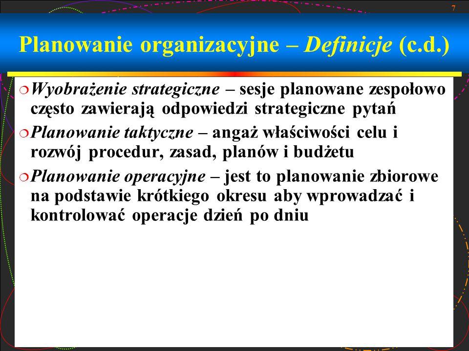 7 Planowanie organizacyjne – Definicje (c.d.)  Wyobrażenie strategiczne – sesje planowane zespołowo często zawierają odpowiedzi strategiczne pytań 