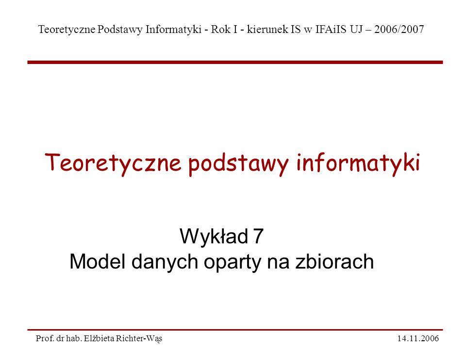 Teoretyczne Podstawy Informatyki - Rok I - kierunek IS w IFAiIS UJ – 2005/2006 14/11/06 12 Prof.
