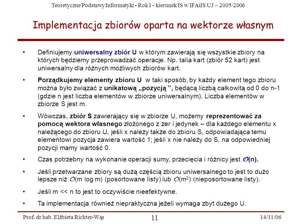 Teoretyczne Podstawy Informatyki - Rok I - kierunek IS w IFAiIS UJ – 2005/2006 14/11/06 11 Prof.