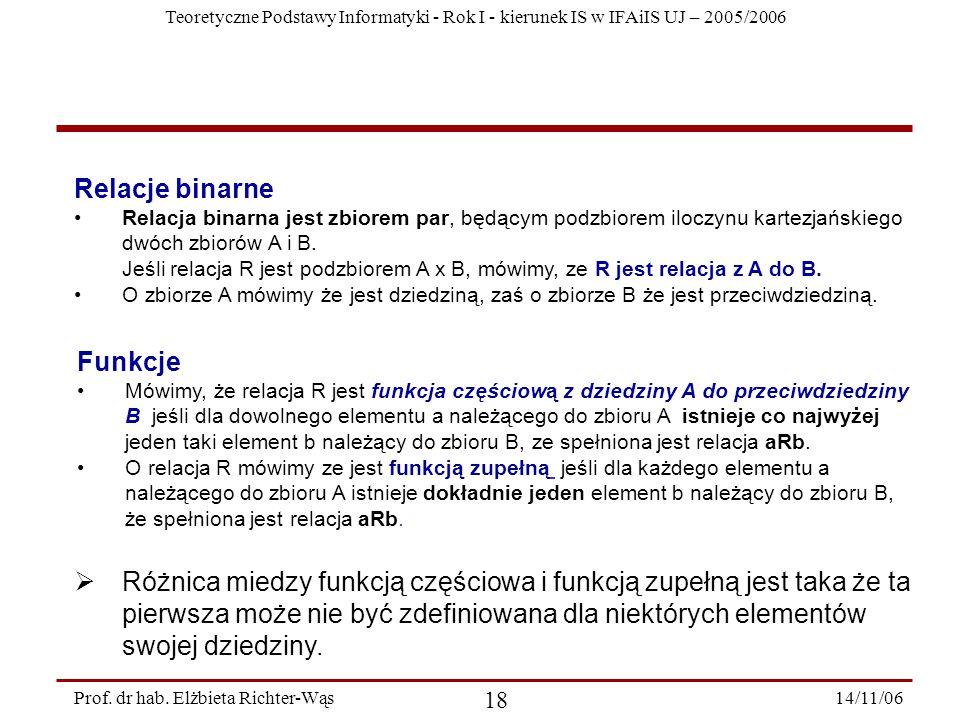 Teoretyczne Podstawy Informatyki - Rok I - kierunek IS w IFAiIS UJ – 2005/2006 14/11/06 18 Prof.