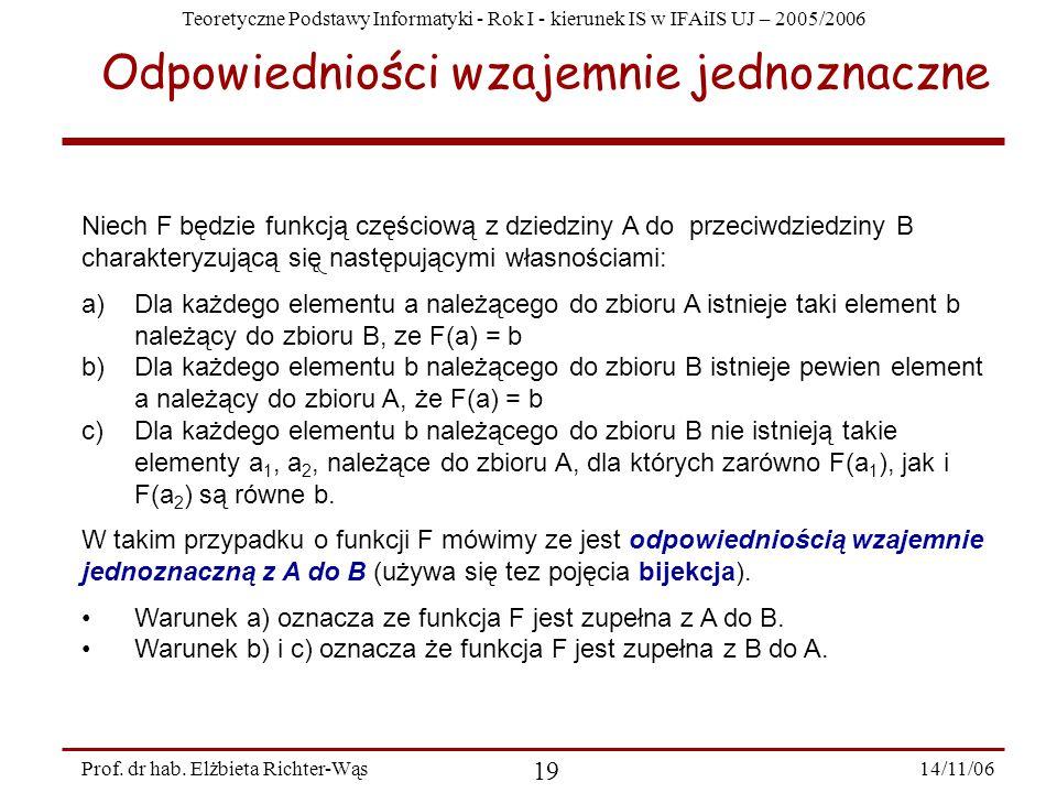 Teoretyczne Podstawy Informatyki - Rok I - kierunek IS w IFAiIS UJ – 2005/2006 14/11/06 19 Prof.