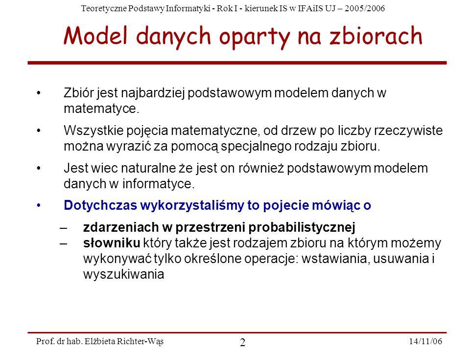 Teoretyczne Podstawy Informatyki - Rok I - kierunek IS w IFAiIS UJ – 2005/2006 14/11/06 2 Prof.