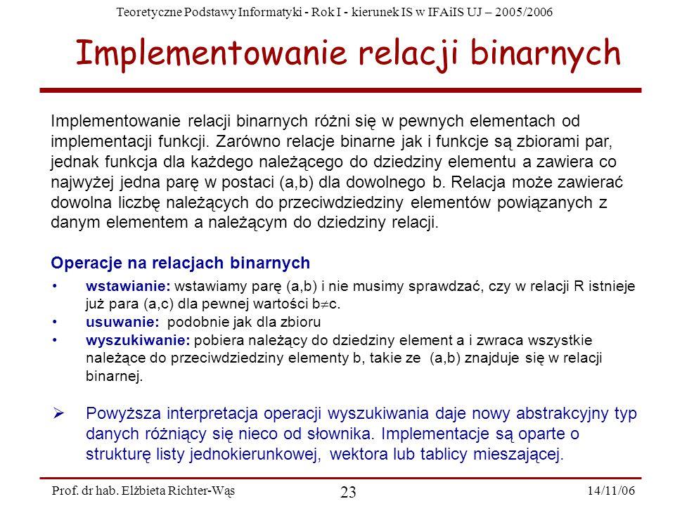 Teoretyczne Podstawy Informatyki - Rok I - kierunek IS w IFAiIS UJ – 2005/2006 14/11/06 23 Prof.