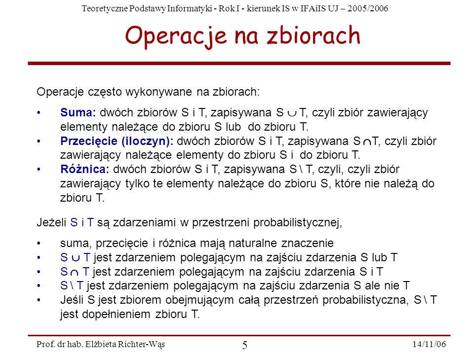 Teoretyczne Podstawy Informatyki - Rok I - kierunek IS w IFAiIS UJ – 2005/2006 14/11/06 5 Prof.