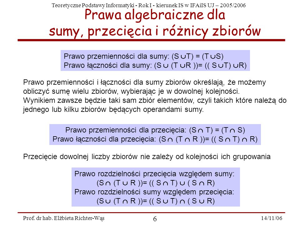 Teoretyczne Podstawy Informatyki - Rok I - kierunek IS w IFAiIS UJ – 2005/2006 14/11/06 6 Prof.