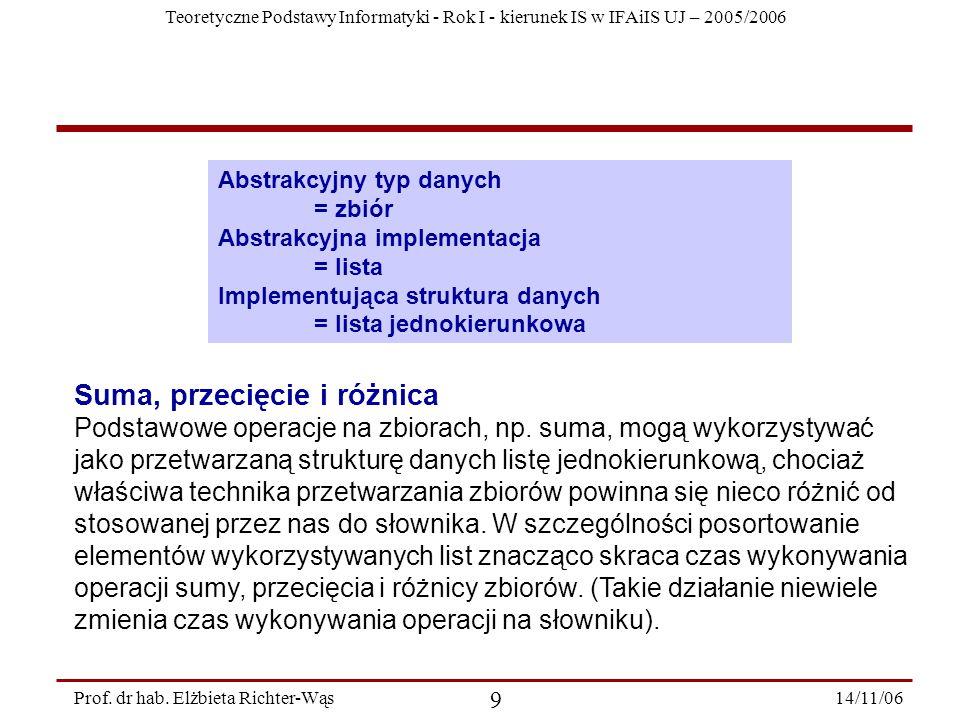 Teoretyczne Podstawy Informatyki - Rok I - kierunek IS w IFAiIS UJ – 2005/2006 14/11/06 20 Prof.