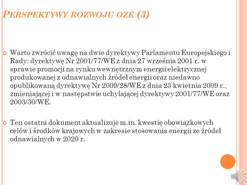 P ERSPEKTYWY ROZWOJU OZE (2) Aktualnie, udział ilościowy sumy energii wynikającej ze świadectw pochodzenia, które przedsiębiorstwo przedstawiło do umo