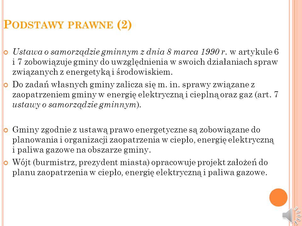 P ODSTAWY PRAWNE (1) Zgodnie z nowelizacją ustawy z dnia 10 kwietnia 1997 r. - Prawo energetyczne uchwalonej przez Sejm RP w dniu 2 grudnia 2009 r., w