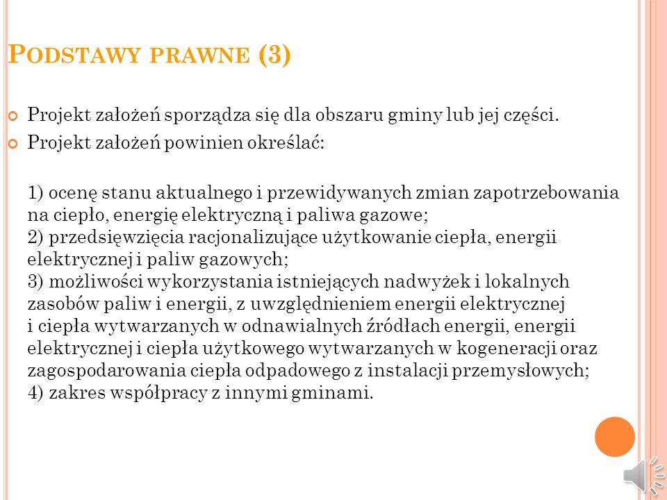 P ODSTAWY PRAWNE (3) Projekt założeń sporządza się dla obszaru gminy lub jej części.