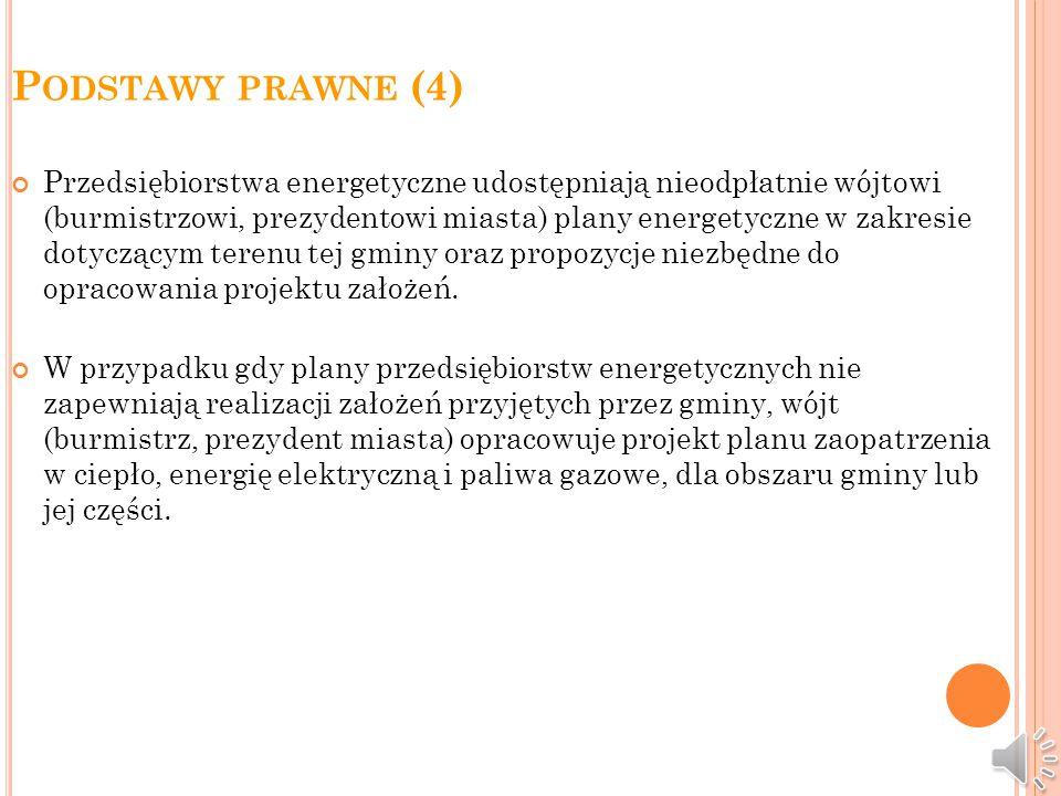 P ODSTAWY PRAWNE (3) Projekt założeń sporządza się dla obszaru gminy lub jej części. Projekt założeń powinien określać: 1) ocenę stanu aktualnego i pr